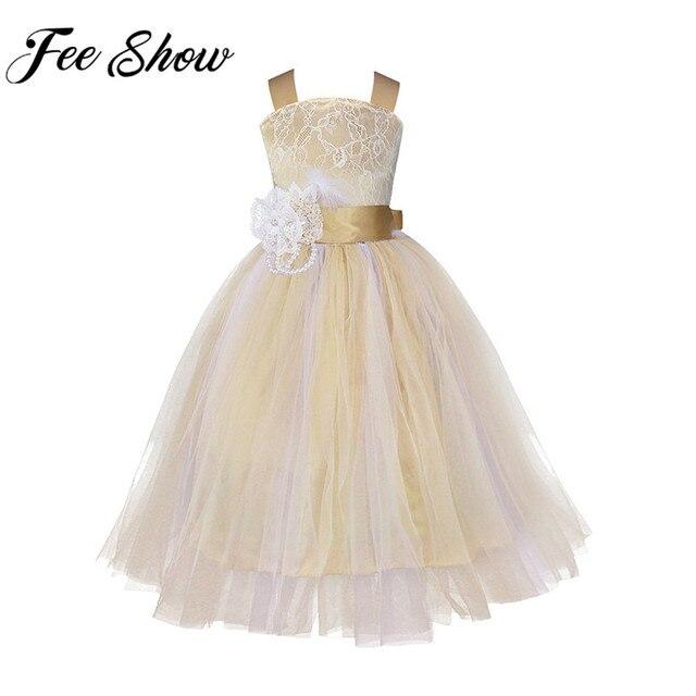 ab61542296 2018 nuevo vestido de la flor de la muchacha niños Pageant comunión  cumpleaños dama de honor