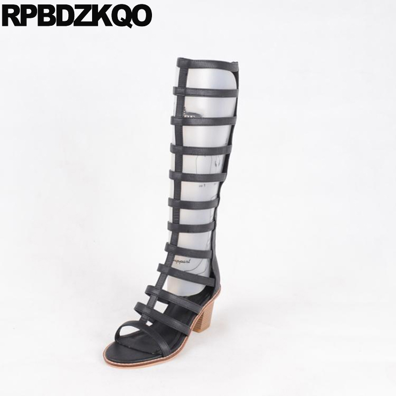 2017 Knee High Open Toe Roman Chunky Black Ladies Heel Boots New Luxury Brand Shoes Women Summer Gladiator Fashion Female Long most popular women summer mid calf boots high heel sandals open toe cutouts design elegant black stilettos ladies casual shoes