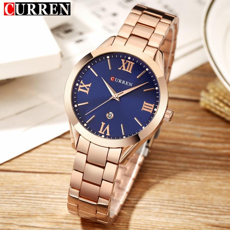 Curren часы люксовый бренд Для женщин полный Сталь кварцевые часы 2018 Мода Повседневное женская одежда элегантность наручные часы relogio feminino