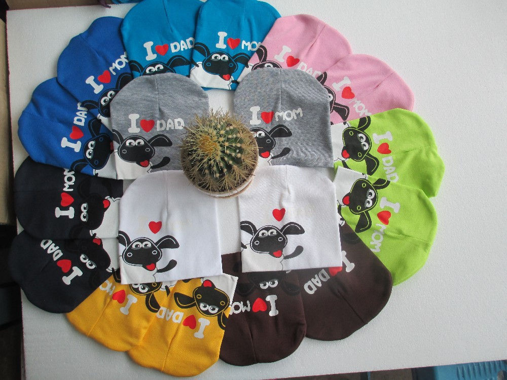 i love dad ,i love mom,19cmx19cm baby hat infant cap Cotton Beanie Skull Cap Toddler Boys Girls Hats & Caps 10 pcs