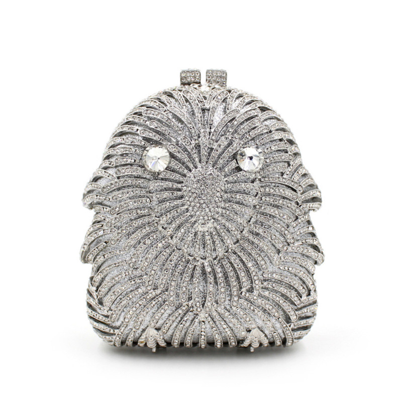 Фотография  Packed Vintage Eagle Animal Hollow Out Silver Crystal Women Wedding Party Handbag Evening Clutches Metal Clutch Bags