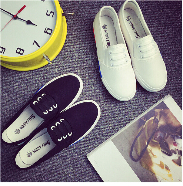 Free Shipping Spring and Autumn Men Canvas Shoes High Quality Fashion Casual Shoes Low Top Brand Single Shoes Thick Sole 7583 -  -  (4) -  -  -  -