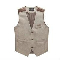 Men Suit Vest Korean Slim Fit Sleeveless Suit Vest Men Casual Business Suit Vest Men Cotton 2 Colors  Free Shipping