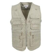 Big Size Fishing Vest Male With Many Pockets Men Sleeveless Jacket Blue Waistcoat Work Vests Outdoors Vest Plus Large Size 10XL