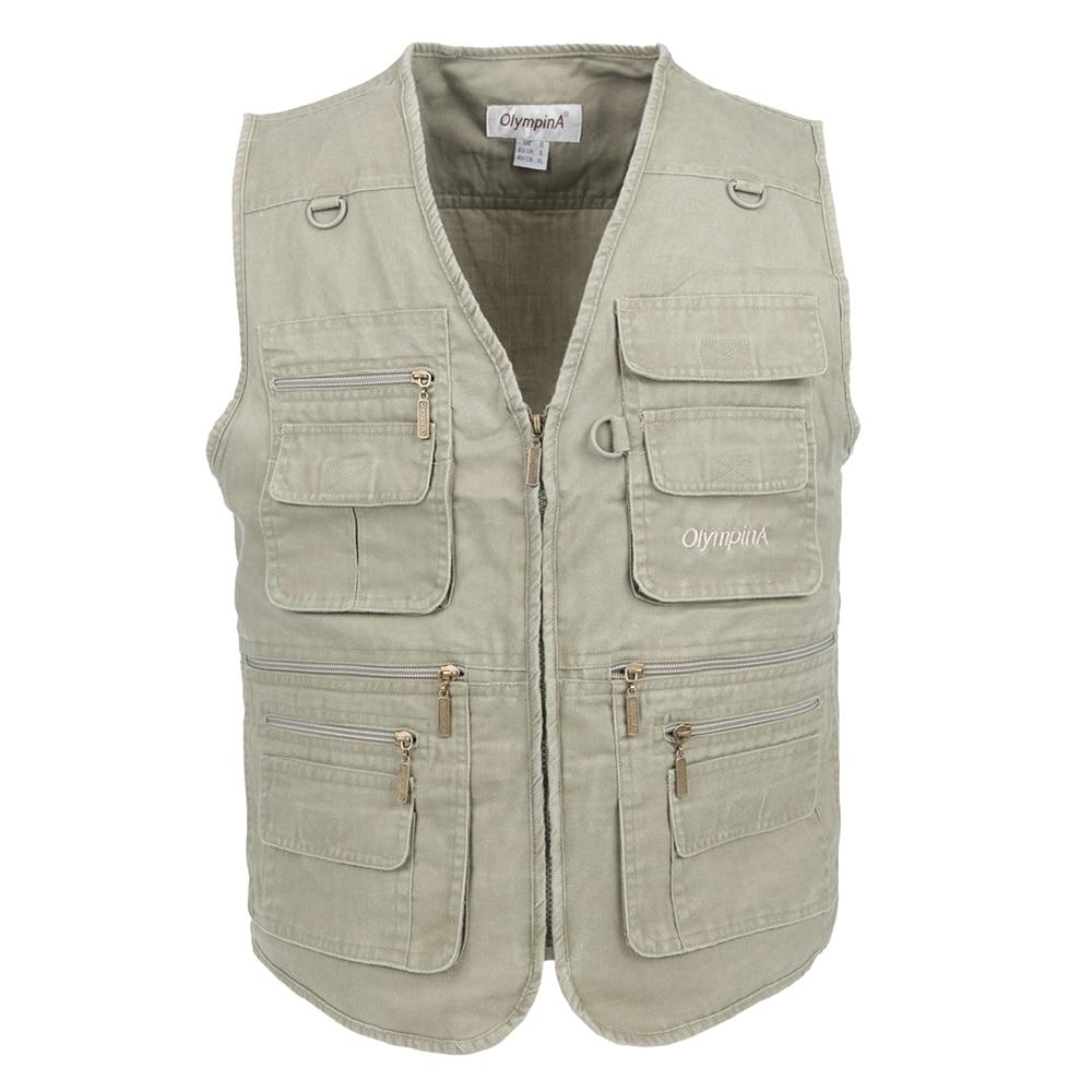 Memancing jaket lelaki dengan banyak poket lelaki jaket tanpa lengan jaket biru rompi kerja luar jaket ditambah saiz besar 10xl