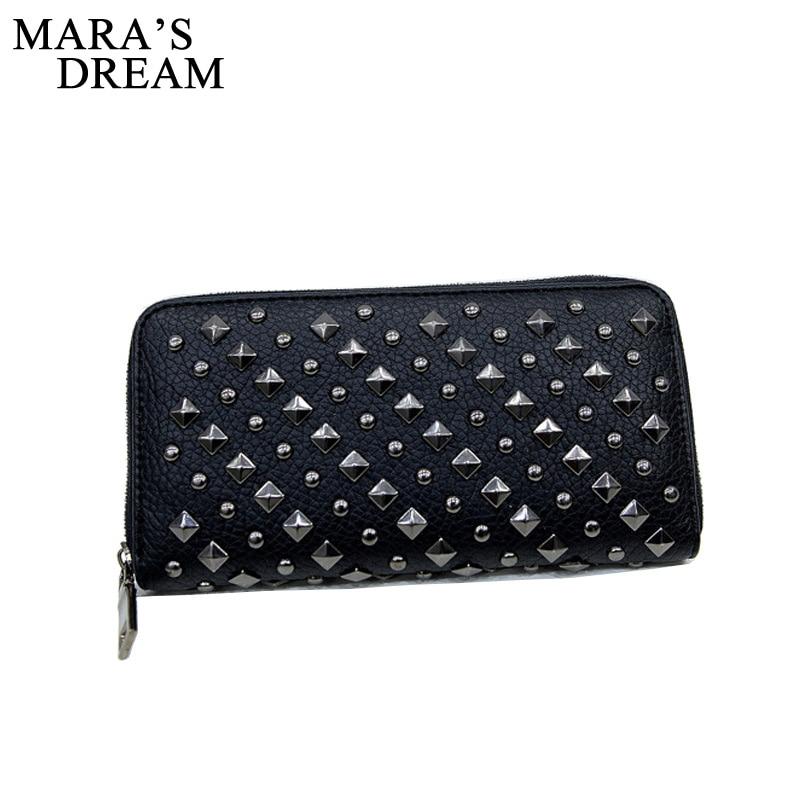 Mara's Dream 2018 Women Punk Style Faux Leather Clutch Wallet Long Rivet Card Holder Purse Handbag punk style faux leather bracelet for women
