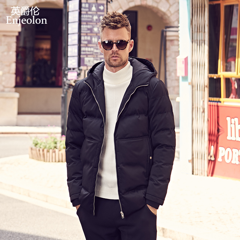Enjeolon Brand Winter Cotton Padded Jacket Hoodies Men Thick Hoodies Parka Coat Male Quilted Winter Jacket Coat 3XL MF0725