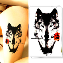 Dear Wolf Valentine Temporary Tattoo Body Art Flash Tattoo Sticker 12*20cm, Waterproof Tatoo Car Styling Home Decor Wall Sticker