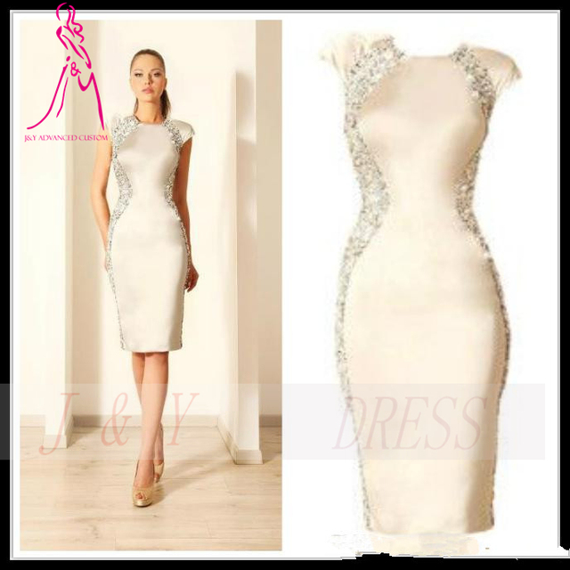 b3bb0ac8713 J Y 2014 Sexy Ivory Cocktail Dresses Knee Length Crystals Mermaid Crew Cap  Sleeve Evening Dress Formal Women s Party Gowns