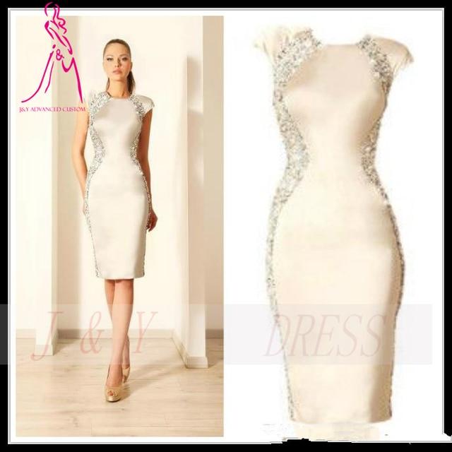 J&Y 2014 Sexy Ivory Cocktail Dresses Knee Length Crystals Mermaid ...