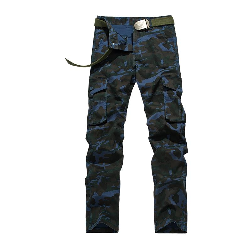 Mens Camouflage Overalls Pants Fashion Military Style Clothing Cargo Pants Male Tooling Multi-pocket Work Slim Trouser 051504