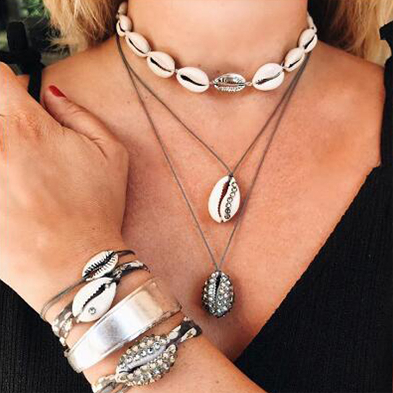 Lalynnlys New Hot Shell Conch Choker Necklace Women Girls Vintage Statement Multi-layer Necklaces Summer Beach Jewelry N68671 4