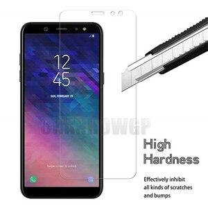 Image 3 - Protector de pantalla de vidrio templado 9H para móvil, película Sklo para Samsung Galaxy A6 2018 A600 A600FN, A6 + A6 Plus 2018 A605 A605FN