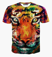 Hot selling New style Animals print T shirt men boy 3d tshirt funny print watercolor galaxy