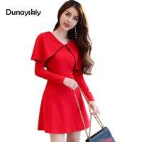 2017 Newest Women Long Sleeve Spring Autumn Dress Cloak Design Solid Shirt Dress Ladies Woman Casual