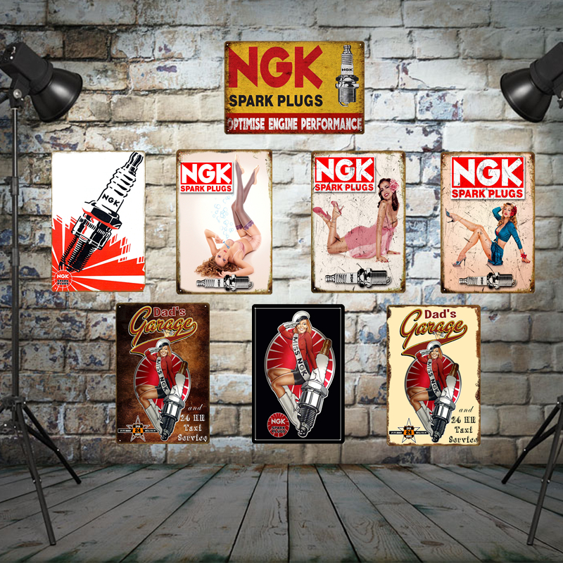 Dad's Garage Wall Decor Miss NGK Spark Plugs Tin Signs Tire Motor Oil Gasoline Station Metal Poster Vintage Retro Plaque