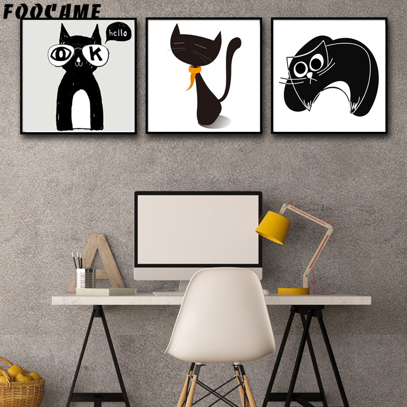FOOCAME Cartoon Animal Μινιμαλιστική γάτα - Διακόσμηση σπιτιού - Φωτογραφία 1