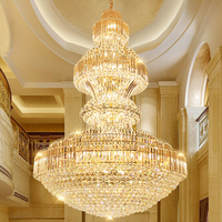 Duplex staircase light LED living room crystal chandeliers villa hotel hall staircase lamp long chandelier Fixture