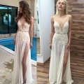 Free Shipping Beige Sexy Sheer Prom Dress Deep V Women Long Prom Gown Vestido De Noiva High Side Split Outdoor Beach Women Dress