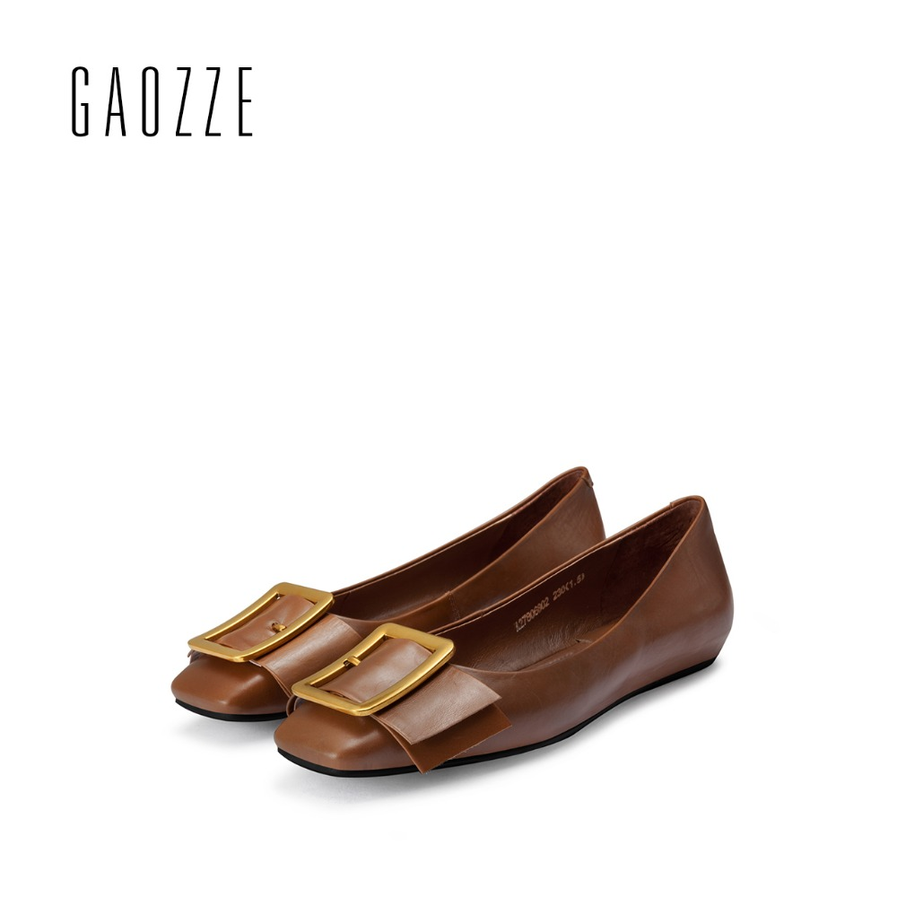 GAOZZE women shoes 2017 autumn new bow tie casual flat shoes female square head shallow mouth Genuine Leather Women Casual Shoes