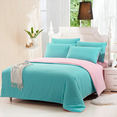 Free Shipping Plain Double 4pcs Bedding Sets Blue And Pink Patchwork Duvet Covers Bed Linen Set Bedclothes In From Home Garden On