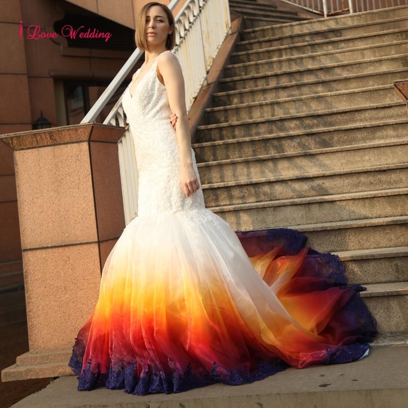 2017 Νέο πολύχρωμο Γοργόνα Γαμήλια - Γαμήλια φορέματα - Φωτογραφία 1