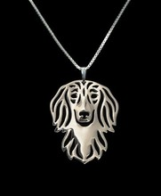 Gold & silver 1pcs Summer fashion cartoon Boho Chic Alloy Long haired Dachshund necklace dog pendant jewelry Silver gold colors