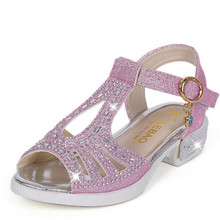 Girls Sandals Summer Kids Shoes Brand Peep-toe Bling Children Sandals Heels For Teen Girls Princess Size 27-37