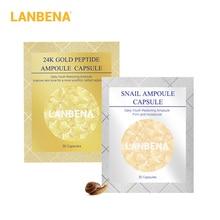 LANBENA 24 K Gold Peptide Rimpels Gezicht Ampul Capsule + Slak Hydraterende Gezichtscrème Serum Anti-Aging Acne Behandeling 60 stks