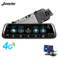 Jansite 3G 4G WIFI Smart Car DVR 10 Touch Screen Android Stream Media Front Rear View Mirror Dual Lens reversing image GPS ADAS