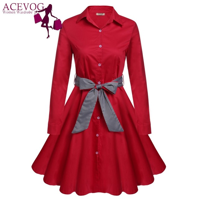 ce0f02f2d2c4e ACEVOG Vintage Shirt Dress Women Turn Down Collar Belted Long Sleeve Autumn  Dresses Elegant Button Vestidos Slim Retro 60s Robe