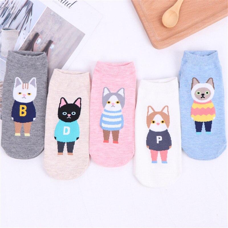 2019 New Spring Summer Kawaii Women Short Socks Cute Funny Harajuku Kawaii Cartoon Cat Cotton Socks for Female Calcetines Mujer