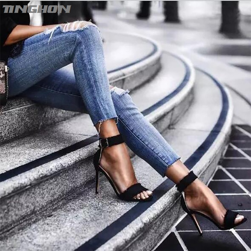 TINGHON Sexy Fashion Women Tassel Sandals Summer shoes Solid Lace-Up Ankle Strap High Heels