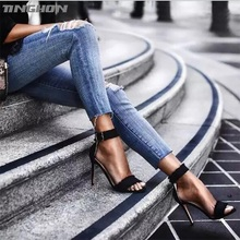 TINGHON Sexy Fashion Women Tassel Sandals Summer shoes Solid Lace-Up Ankle Strap High Heels Sandals lttl women multi tassel lace up ultra high heel sandals summer platform shoes ankle strap fringed party dress sandal shoes