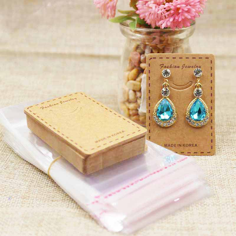 Cute smiling jewelery package & earring display card kraft/white drop earring products decorative card 100pcs+100 plastic bag