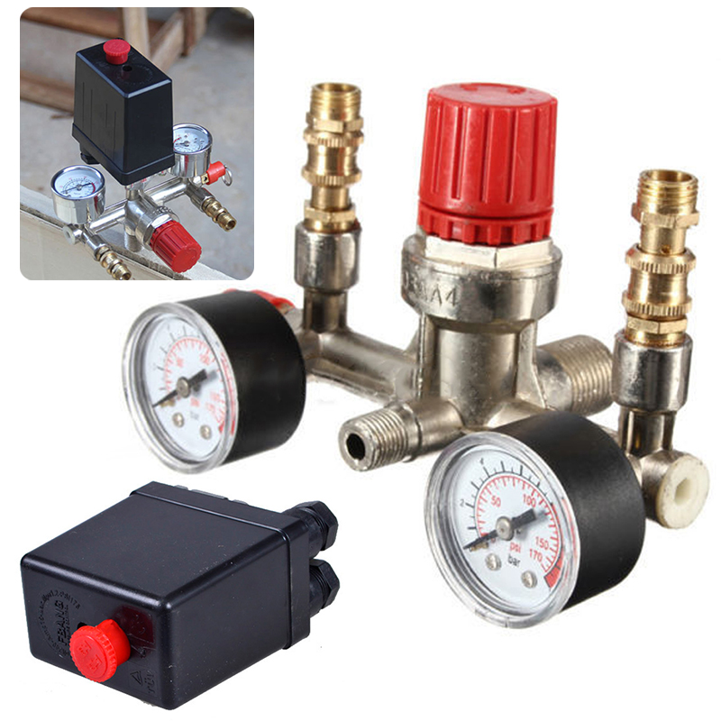 Adjustable Pressure Switch Air Compressor Switch Pressure Regulating Valve Set 240v Switch Control with 2 Press Gauges air control compressor pressure gauge relief regulating regulator valve ar3000 02 1 4 port size
