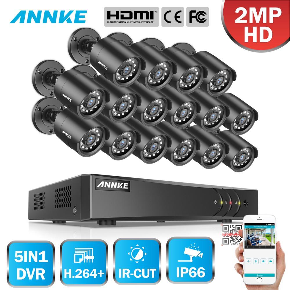 ANNKE 1080P H 264 16CH CCTV Camera DVR System 16pcs IP66 Waterproof 2 0MP Bullet Cameras
