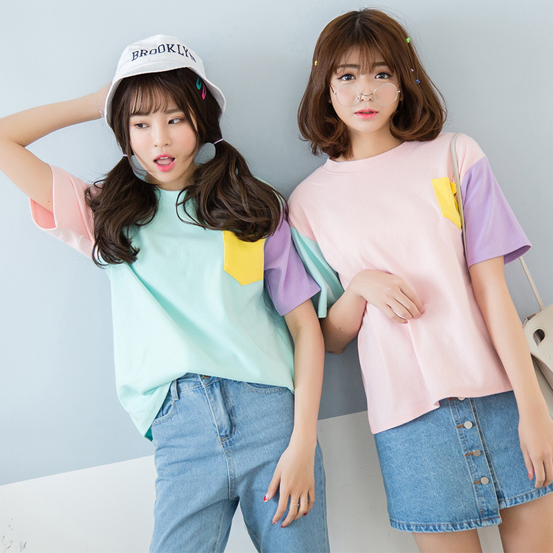 2017 Women's T-Shirt Summer Korean Style Hit Color Crew Neck With Pocket Tee Color Block Patchwork Bottoming Classic Top