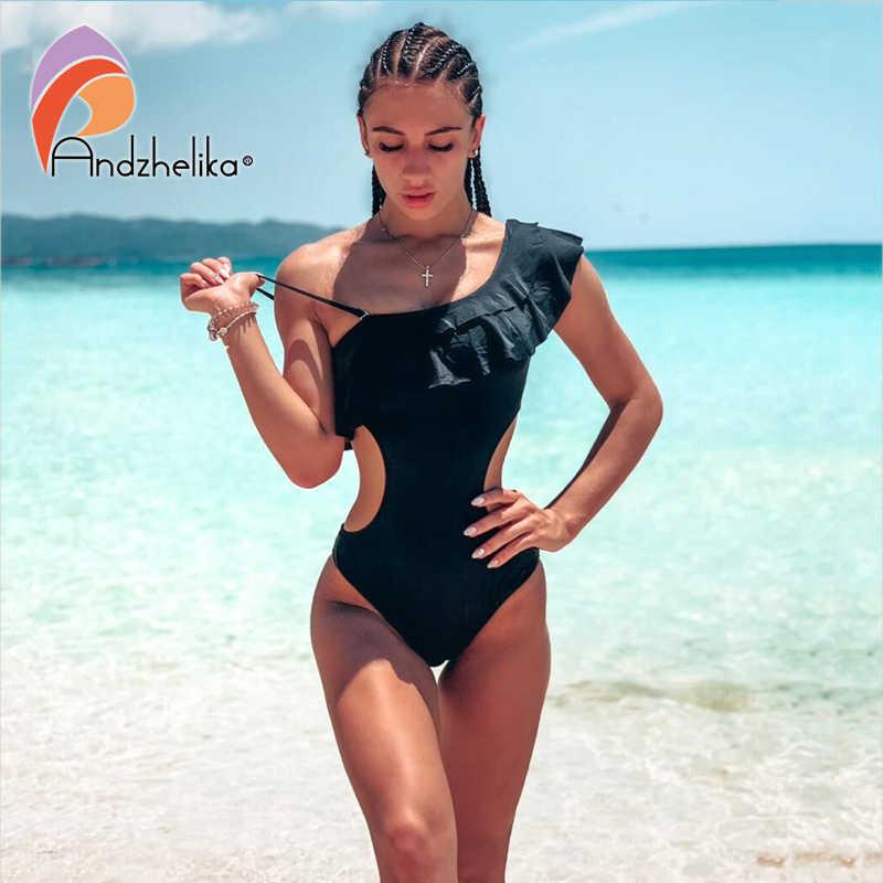 Andzhelika Sexy jeden kawałek jeden strój kąpielowy ramię wzburzyć kobiet stroje kąpielowe body drążą strój kąpielowy Monokini