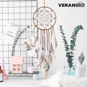 New Feather Crafts Dream Catcher Wind Chimes Handmade Dreamcatcher Net With Feather Beads for Wall Hangin Home Decor