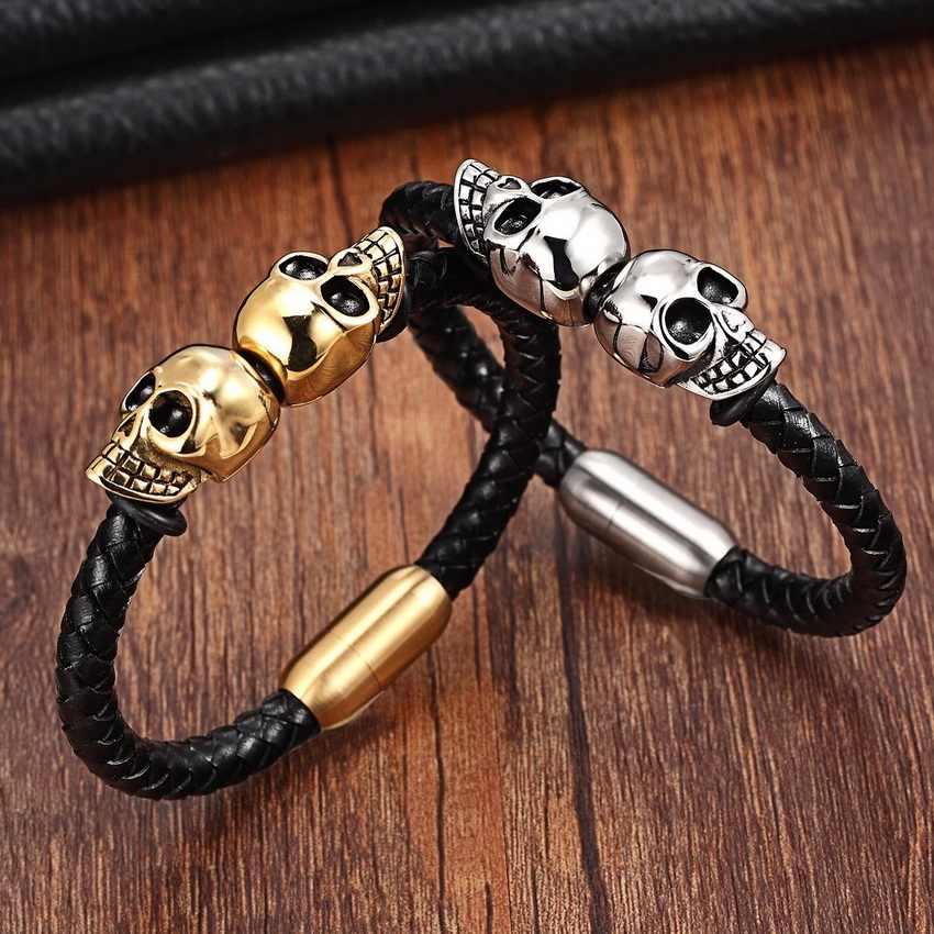 Vendita al dettaglio di Modo Del Cuoio Genuino Punk Del Cranio Uomo bracciali e braccialetti del braccialetto di modo per gioielli uomo con protezione del colore