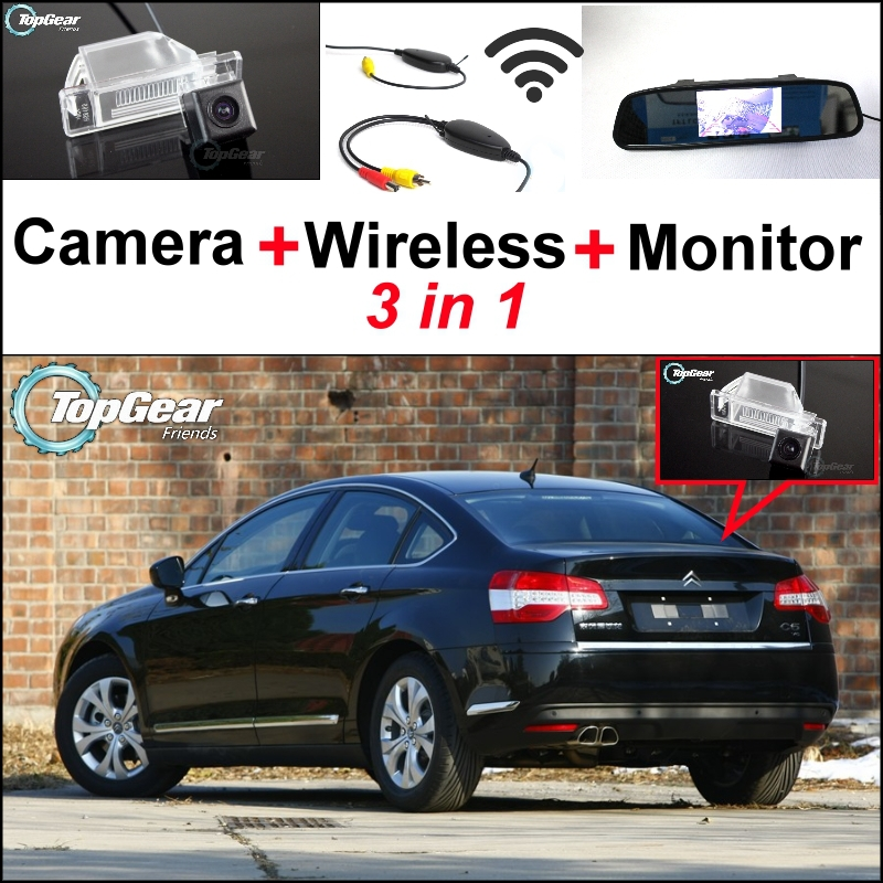 3in1 Special Rear View Camera + Wireless Receiver + Mirror Monitor Easy DIY Backup Parking System For Citroen C2 C3 C4 Hatchback wireless pager system 433 92mhz wireless restaurant table buzzer with monitor and watch receiver 3 display 42 call button