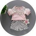 2016 NOVOS conjuntos de verão rendas patchwork camisas de t + calça de bolinhas 2 pcs meninas do bebê da princesa conjunto de roupas de moda menina de partido do bebê terno