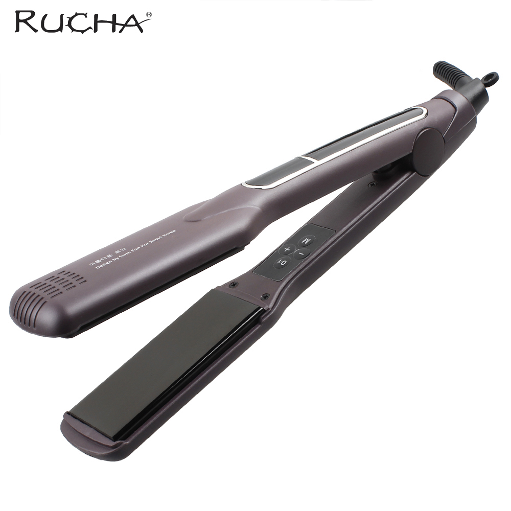 RUCHA Electric Hair Straightener 1 Inch Ceramic Flat Iron Tourmaline Plates LCD Display Chapinha 230 Celsius 220V Coffee Color titanium plates hair straightener lcd display straightening iron mch fast heating curling iron flat iron salon styling tools