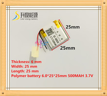 602525 062525 3.7V 500mah Lithium polymer Battery with Protection Board For MP3 MP4 GPS Digital Products Free Shipping