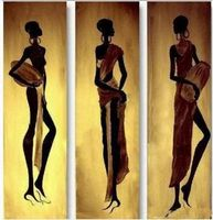Free Shipping 3 pcs Handmade Abstract Oil Painting Canvas Modern Paintings Wall art African Women Wall Art Home Decor