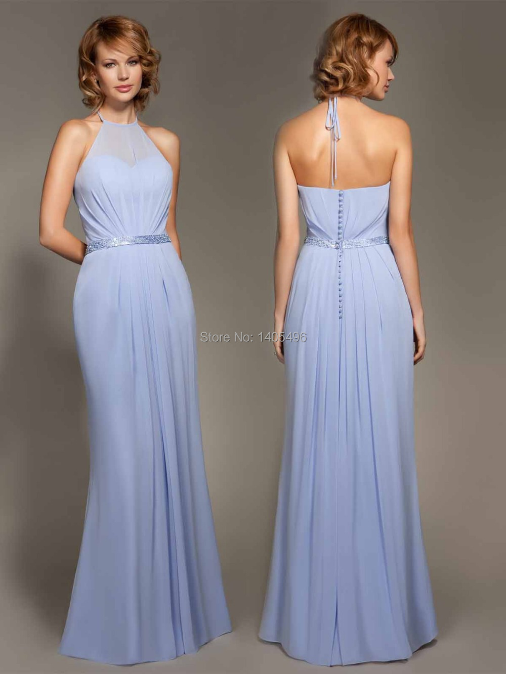 Long bridesmaid dress diaphanous neck chiffon halter high neck long bridesmaid dress diaphanous neck chiffon halter high neck prom dress cheap beach bridesmaid gown with pleat and beaded sash in bridesmaid dresses from ombrellifo Image collections