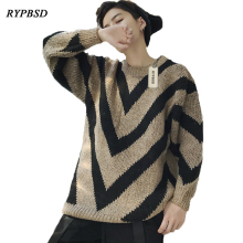 2017 Autumn and Winter Oversize Loose Men Knitted Sweater Coat Geometric Sweater Men Long Sleeve Knitwear Sweaters Men Casual