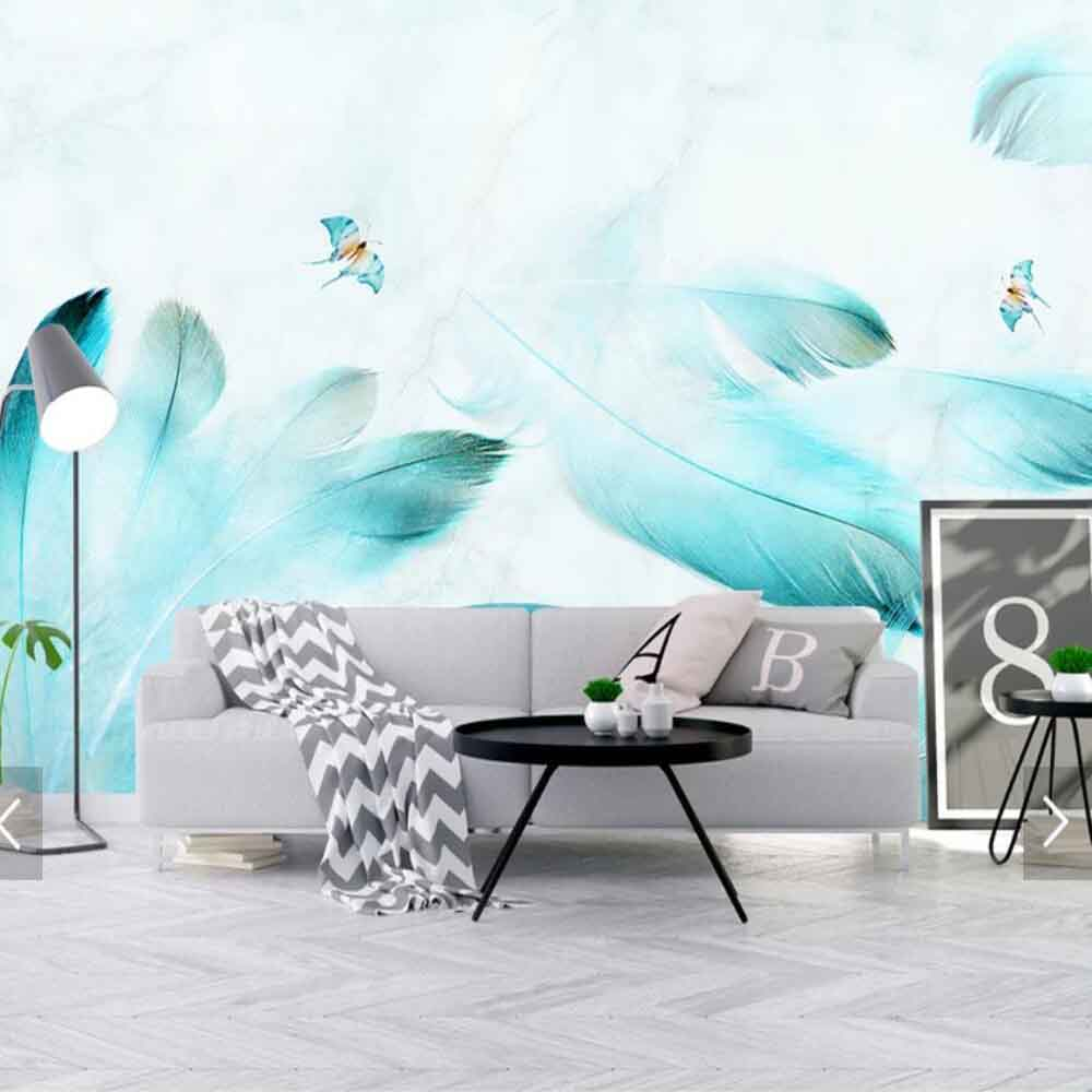 3D Abstract Feather Blue Colorful Animal Feather Mural For