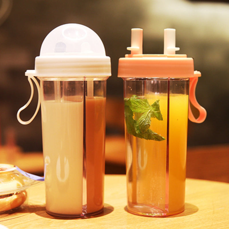 Double tube opening design Kitchen Supplies Portable Outdoor Travel Creative Dual use Water Bottle Drinking Cup Leak Proof|Water Bottles|   - AliExpress